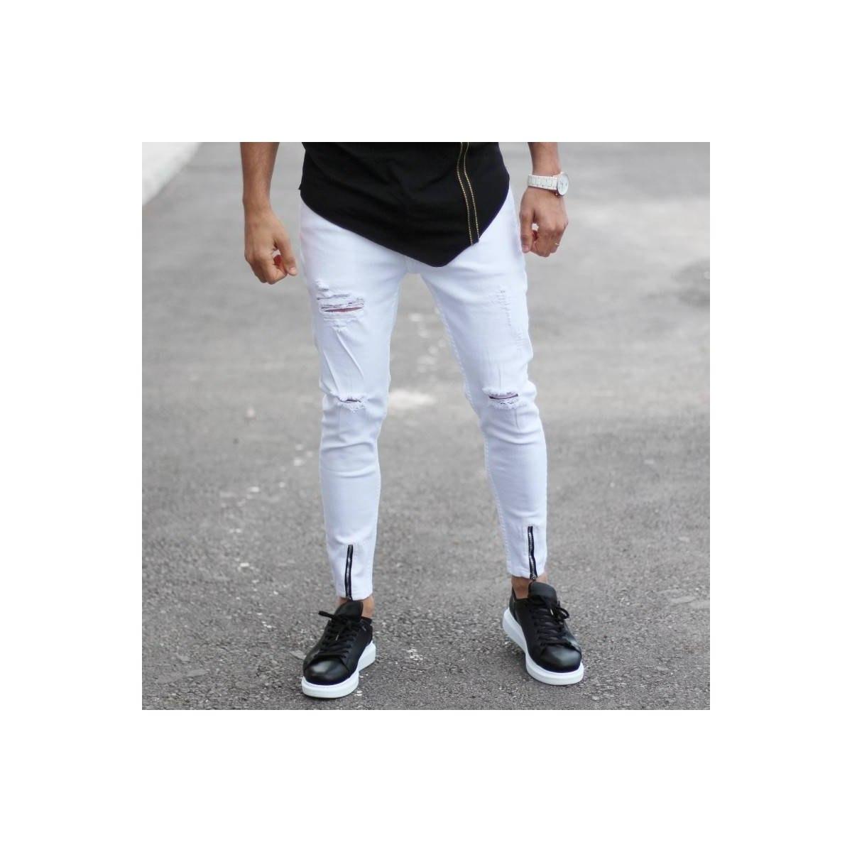 Men's Slim Jeans With Knee...