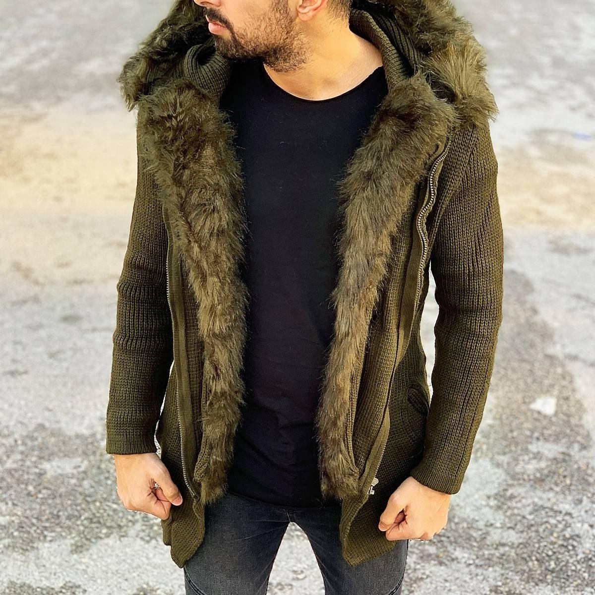 Furry Hood and Trim Cardigan Jacket in Khaki