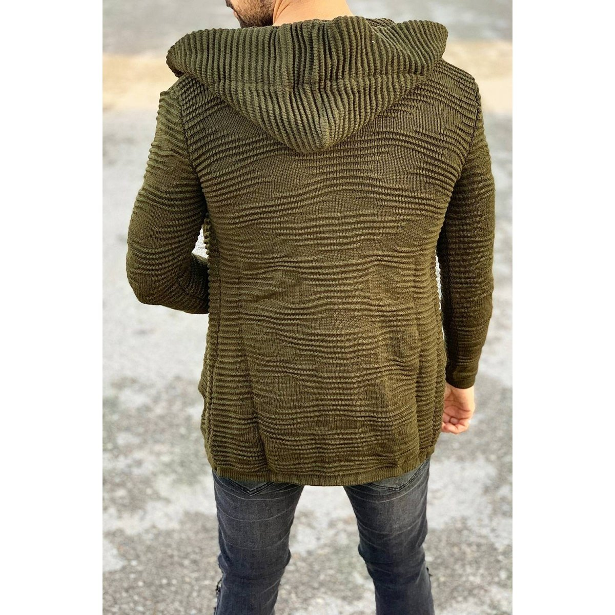 Ribbed Pattern Hooded...
