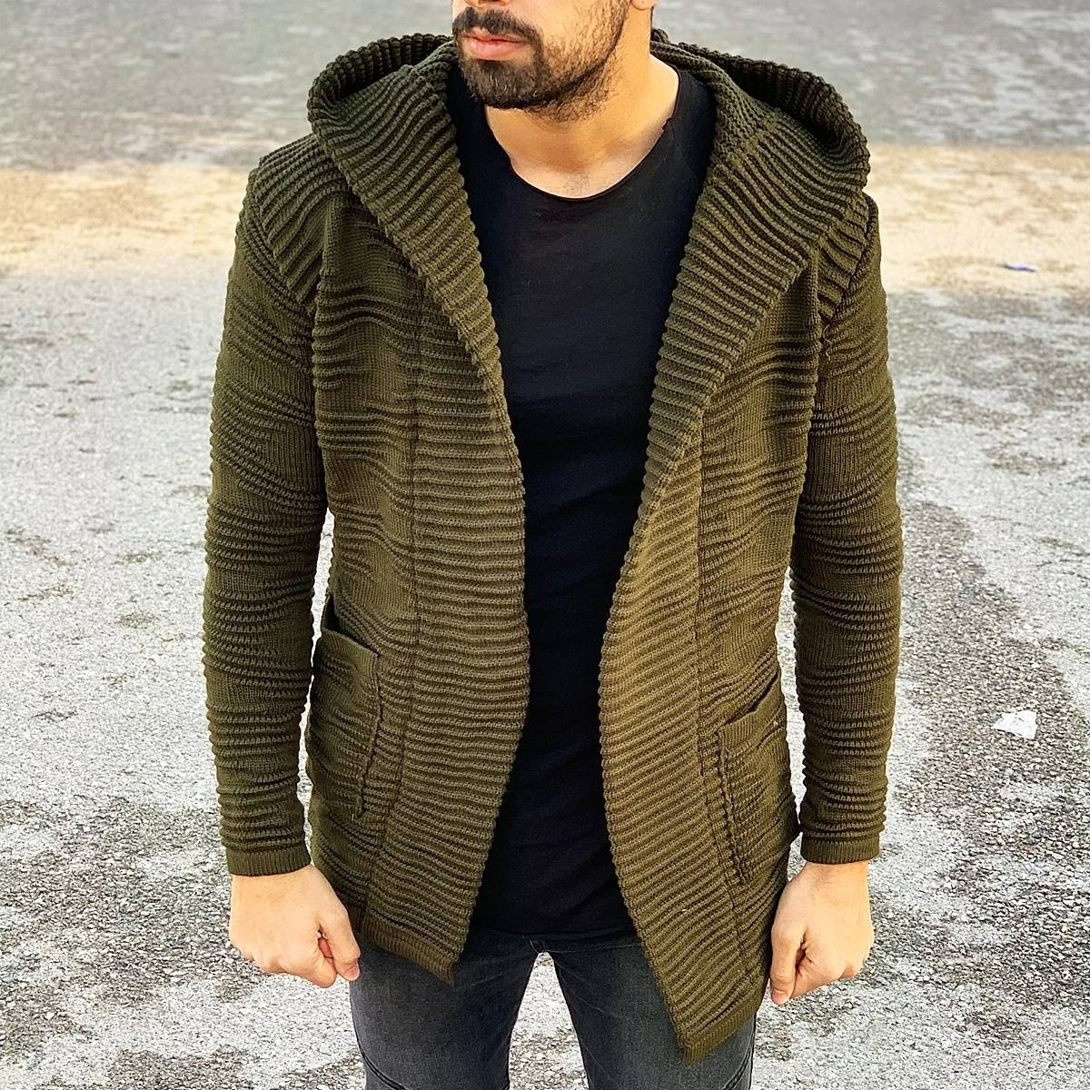Ribbed Pattern Hooded Cardigan in Brown