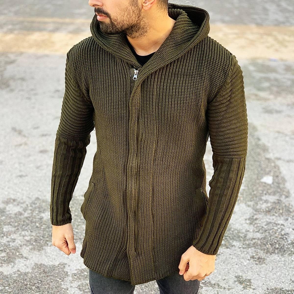Classic Hooded Cardigan Jacket in Brown