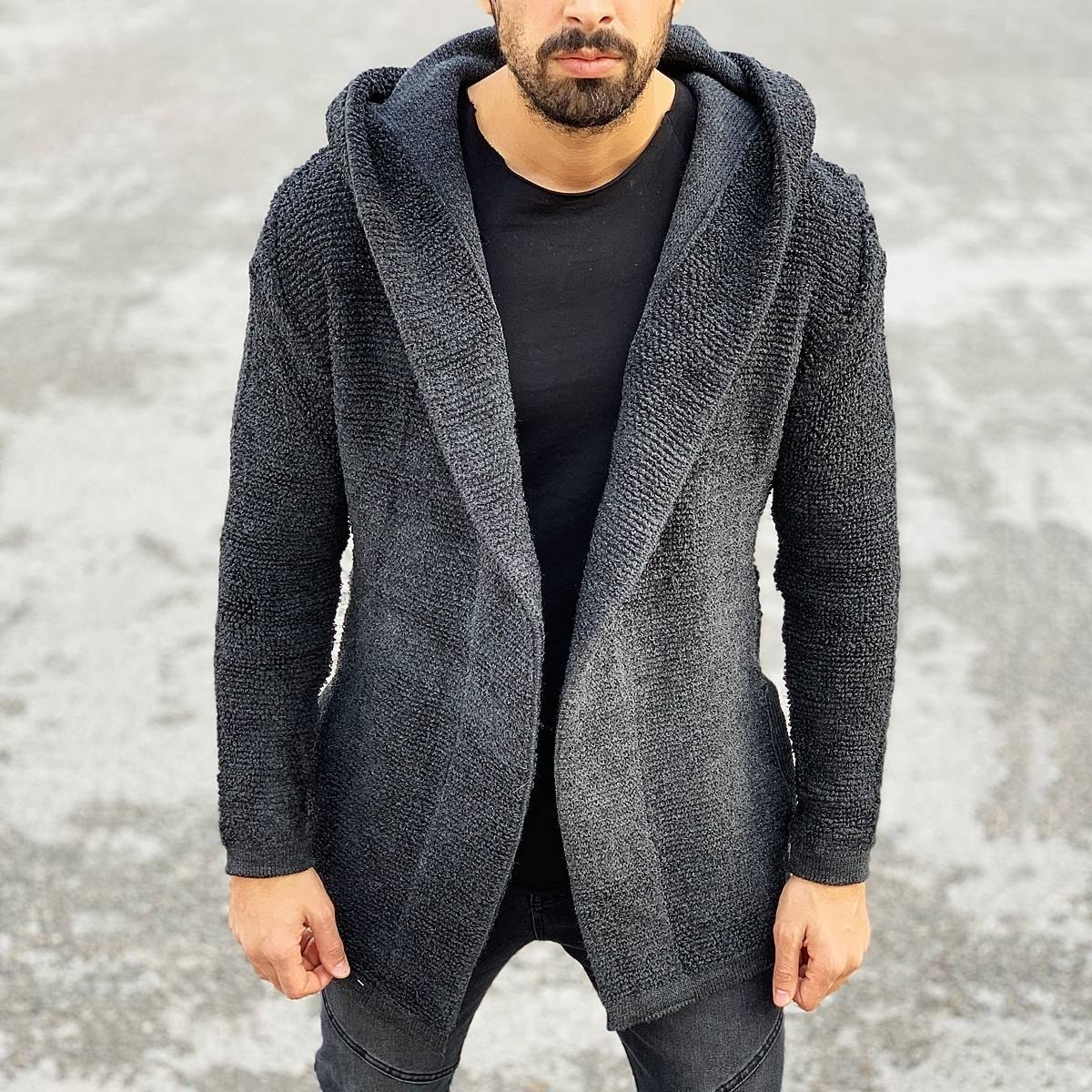 Comfortable Hooded Cardigan in Charcoal Grey