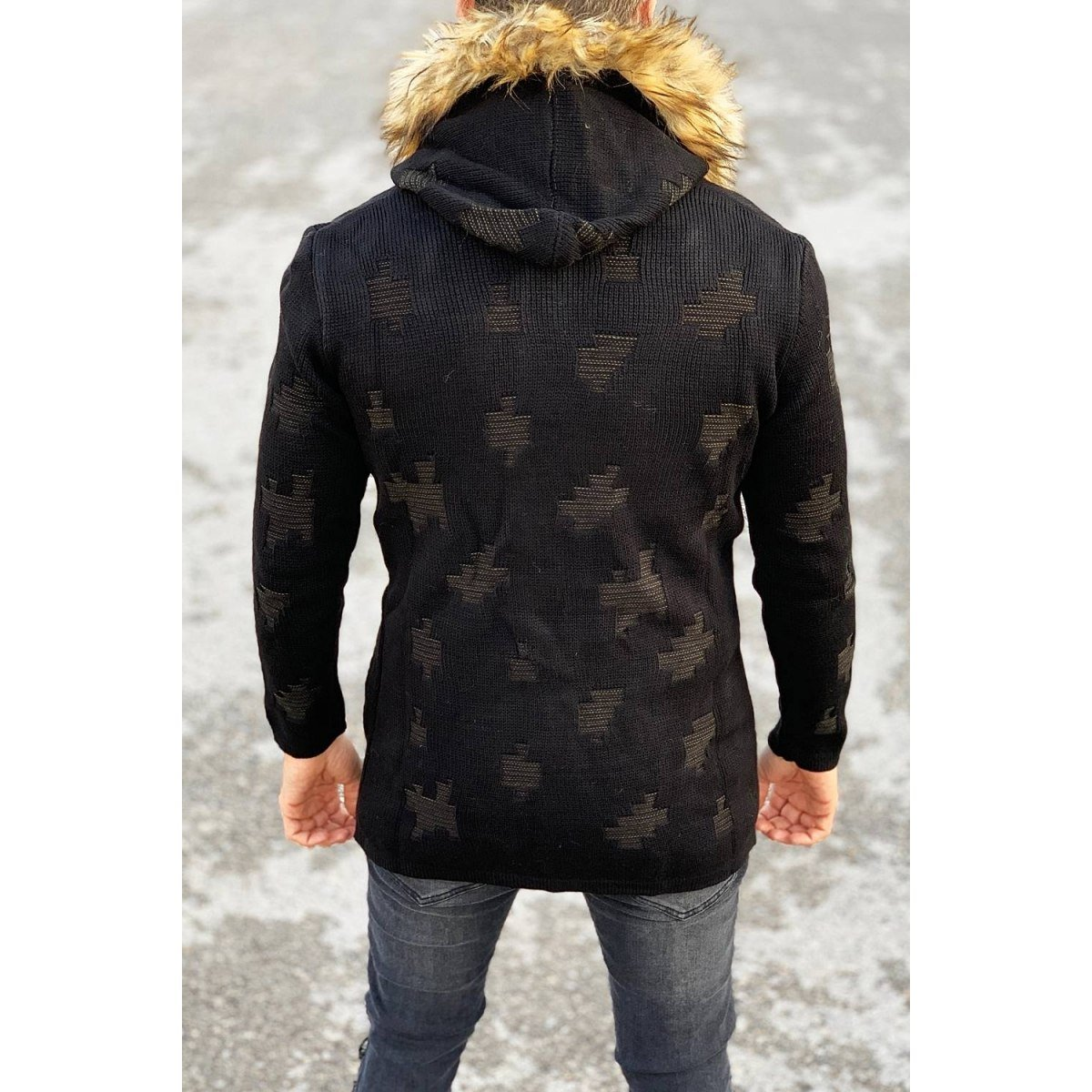 Patterned Fur-Hood Cardigan Jacket in Black Mv Premium Brand - 1