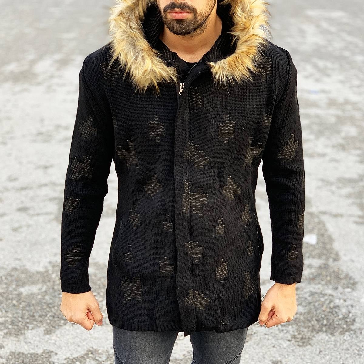 Patterned Fur-Hood Cardigan Jacket in Black Mv Premium Brand - 2
