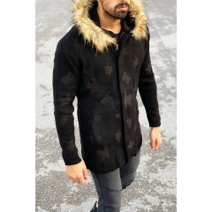Patterned Fur-Hood Cardigan Jacket in Black Mv Premium Brand - 3