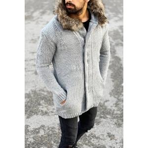Rough Pattern Fur-Hood Cardigan Jacket in Grey Mv Premium Brand - 1