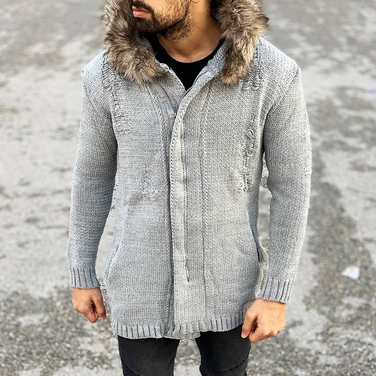 Rough Pattern Fur-Hood Cardigan Jacket in Grey