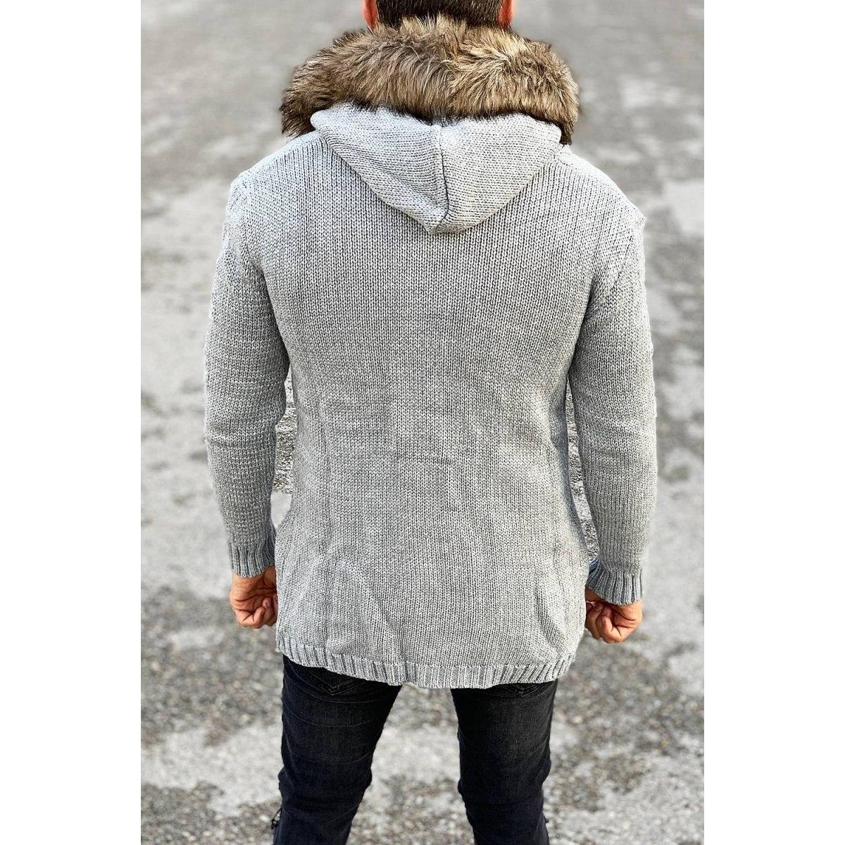 Rough Pattern Fur-Hood Cardigan Jacket in Grey Mv Premium Brand - 3