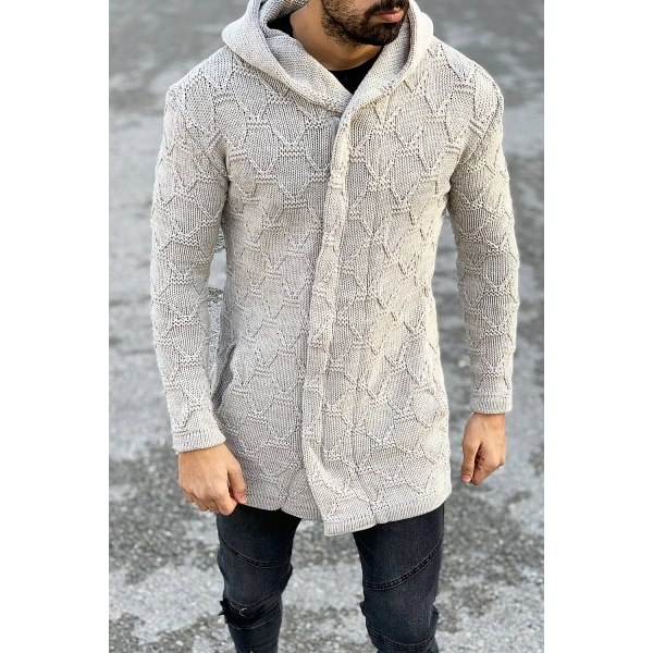 Quilted Pattern Hooded...