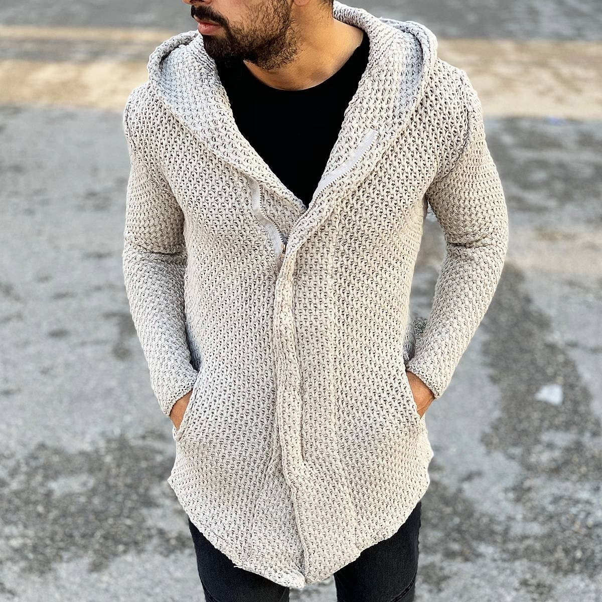 Classic Hooded Cardigan Jacket in White