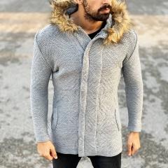 Furry-Hood Patterned Cardigan Jacket in Grey Mv Premium Brand - 1