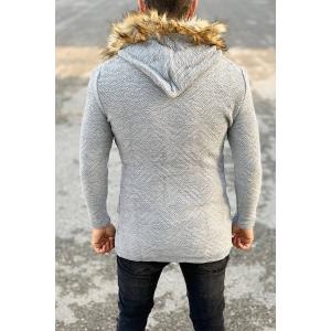 Furry-Hood Patterned Cardigan Jacket in Grey Mv Premium Brand - 2