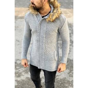 Furry-Hood Patterned Cardigan Jacket in Grey Mv Premium Brand - 3