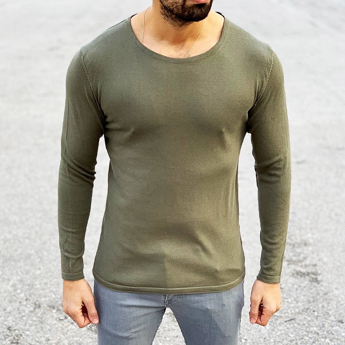 Men's Basic Spring Sweatshirt In Khaki Mv Premium Brand - 3