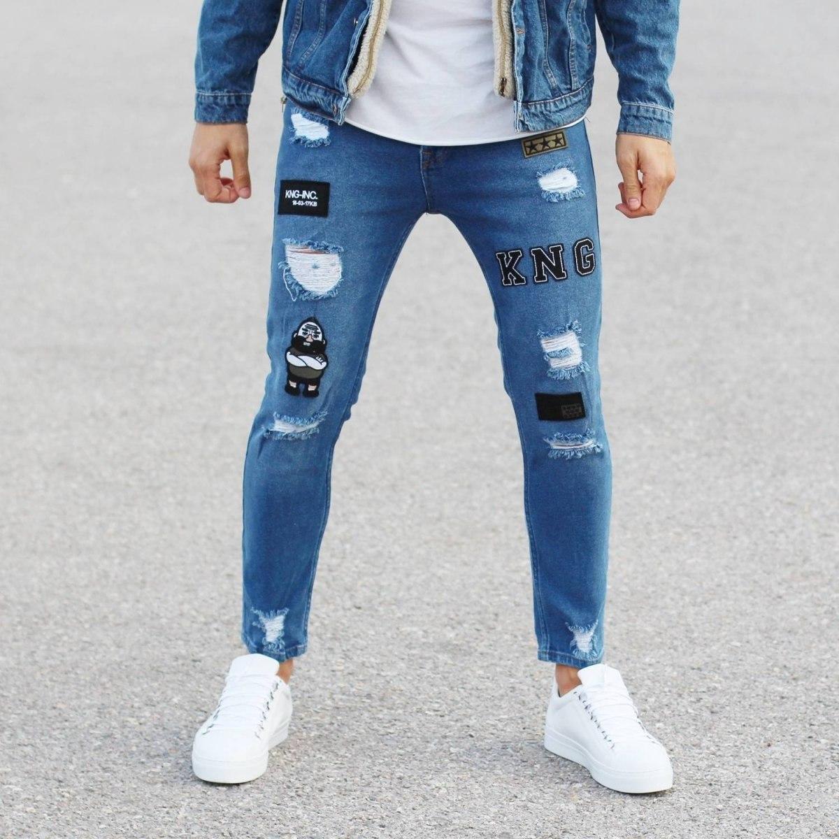 Patch-Work Slim-Fit Jeans in Blue Mv Premium Brand - 1