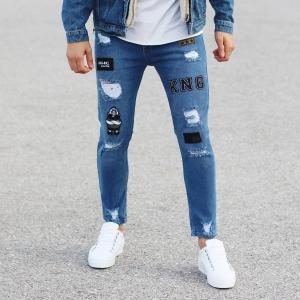 Patch-Work Slim-Fit Jeans in Blue Mv Premium Brand - 2