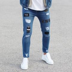 Patch-Work Slim-Fit Jeans in Blue Mv Premium Brand - 3