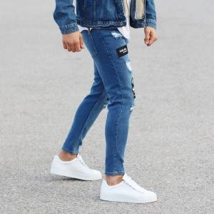 Patch-Work Slim-Fit Jeans in Blue Mv Premium Brand - 4