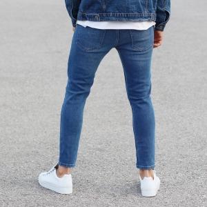 Patch-Work Slim-Fit Jeans in Blue Mv Premium Brand - 5