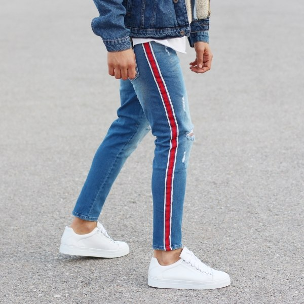 Red-Stripe Jeans With Rips
