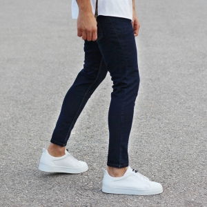 Classic Plain Slim-Fit Jeans in Dark Blue Mv Premium Brand - 2