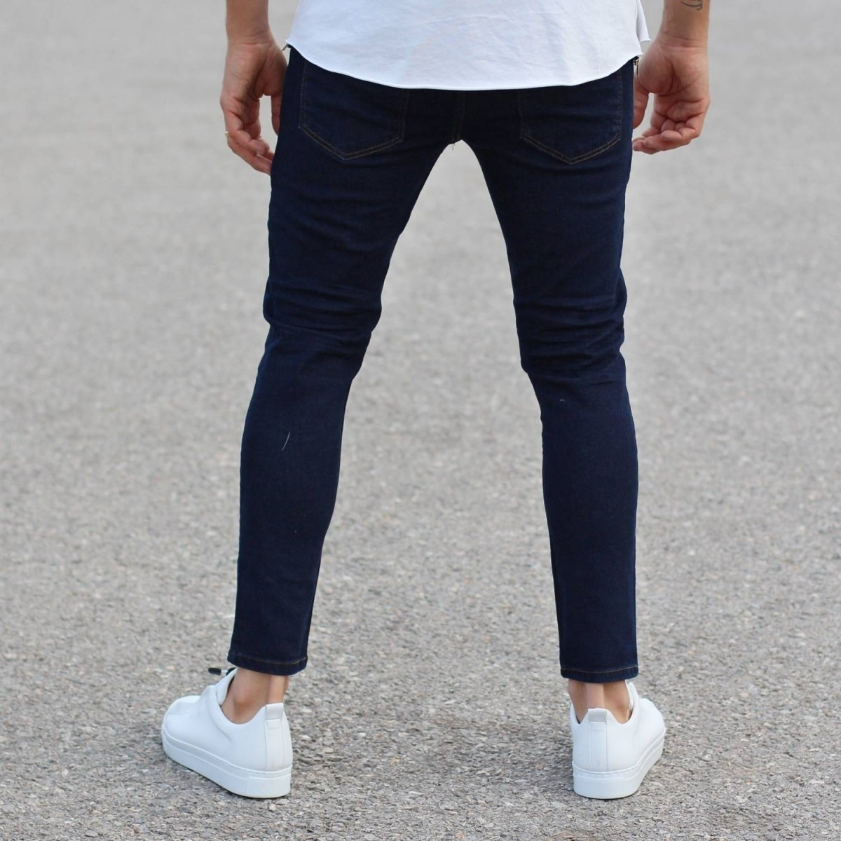 Classic Plain Slim-Fit Jeans in Dark Blue Mv Premium Brand - 3