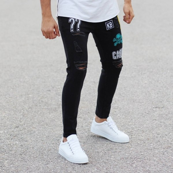 Bold Patch-Art Jeans With...