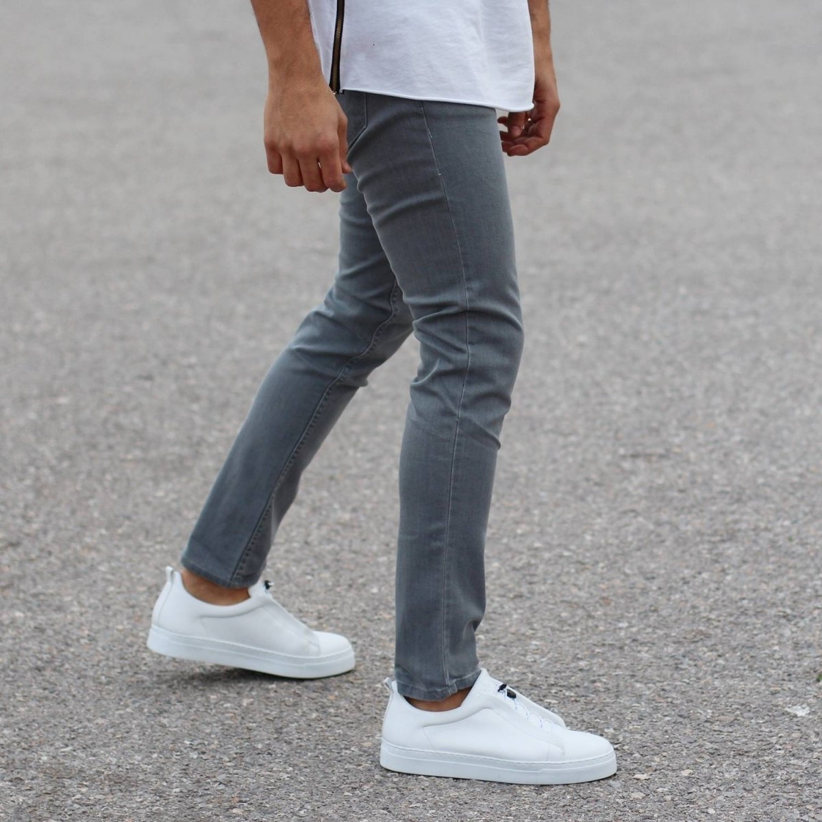 Plain Light Grey Slim-Fit Jeans Mv Premium Brand - 1