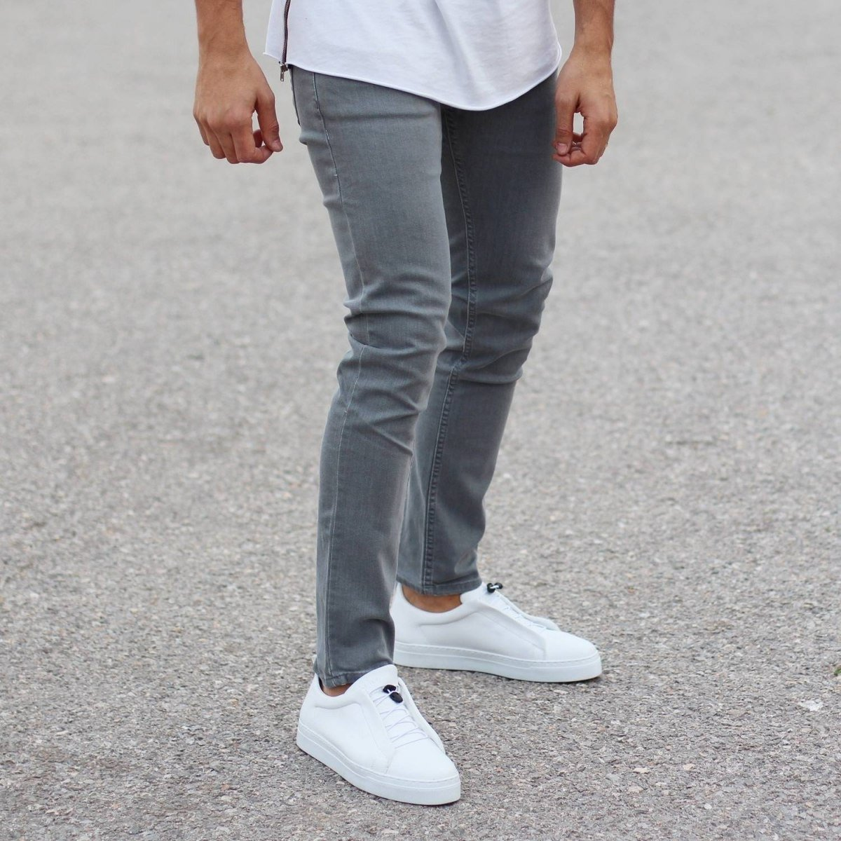 Plain Light Grey Slim-Fit Jeans Mv Premium Brand - 2