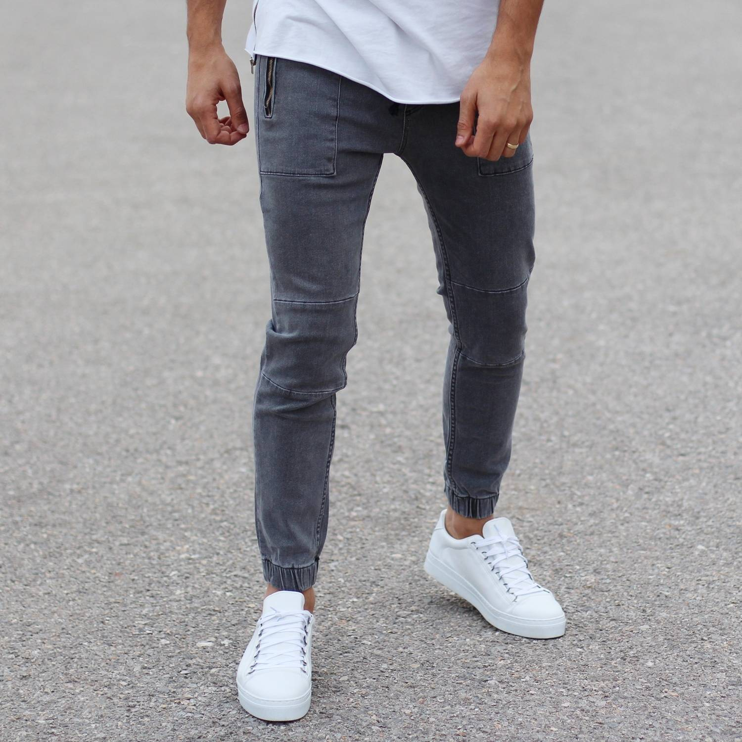 Grey Jeans With Zipper-Pockets and