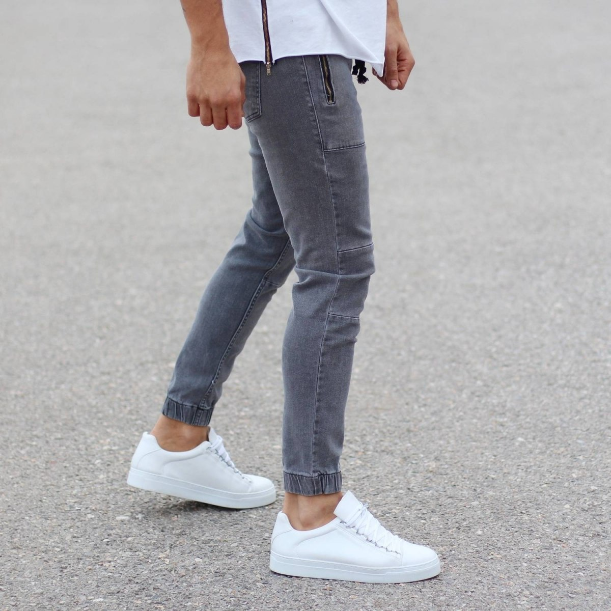 Grey Jeans With Zipper-Pockets and Tapered Ankles Mv Premium Brand - 2
