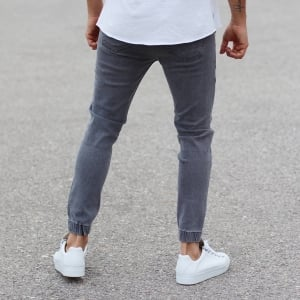 Grey Jeans With Zipper-Pockets and Tapered Ankles Mv Premium Brand - 3