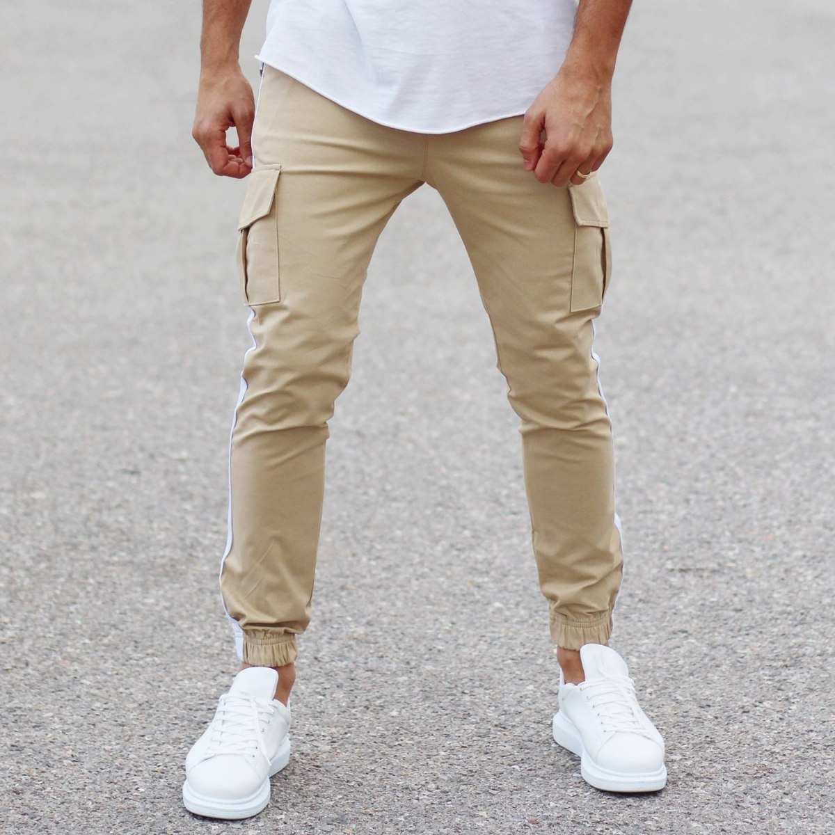 Beige Pants With Large Pockets and Side-Stripes Mv Premium Brand - 2
