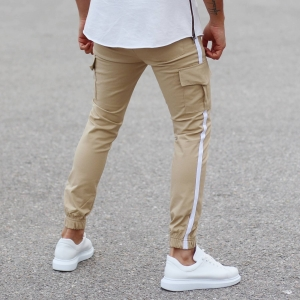 Beige Pants With Large Pockets and Side-Stripes Mv Premium Brand - 3