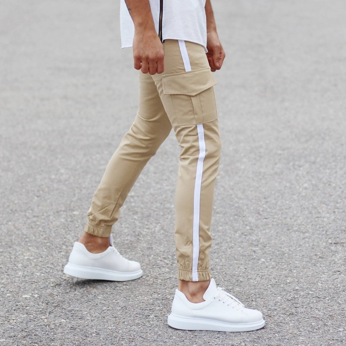 Beige Pants With Large Pockets and Side-Stripes Mv Premium Brand - 1