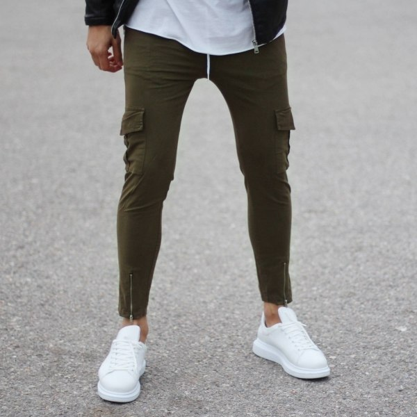 Khaki Casual Pants with...