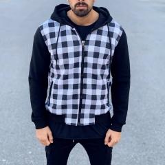Chequered Hoodie in Black and White Mv Premium Brand - 1
