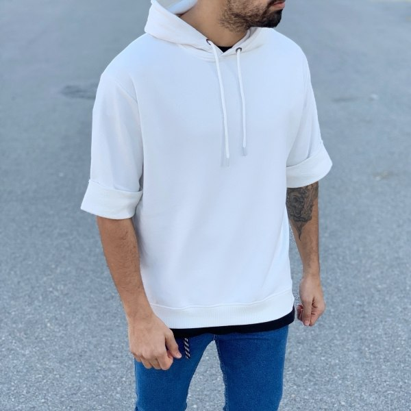 Short-Sleeved Hoodie in White