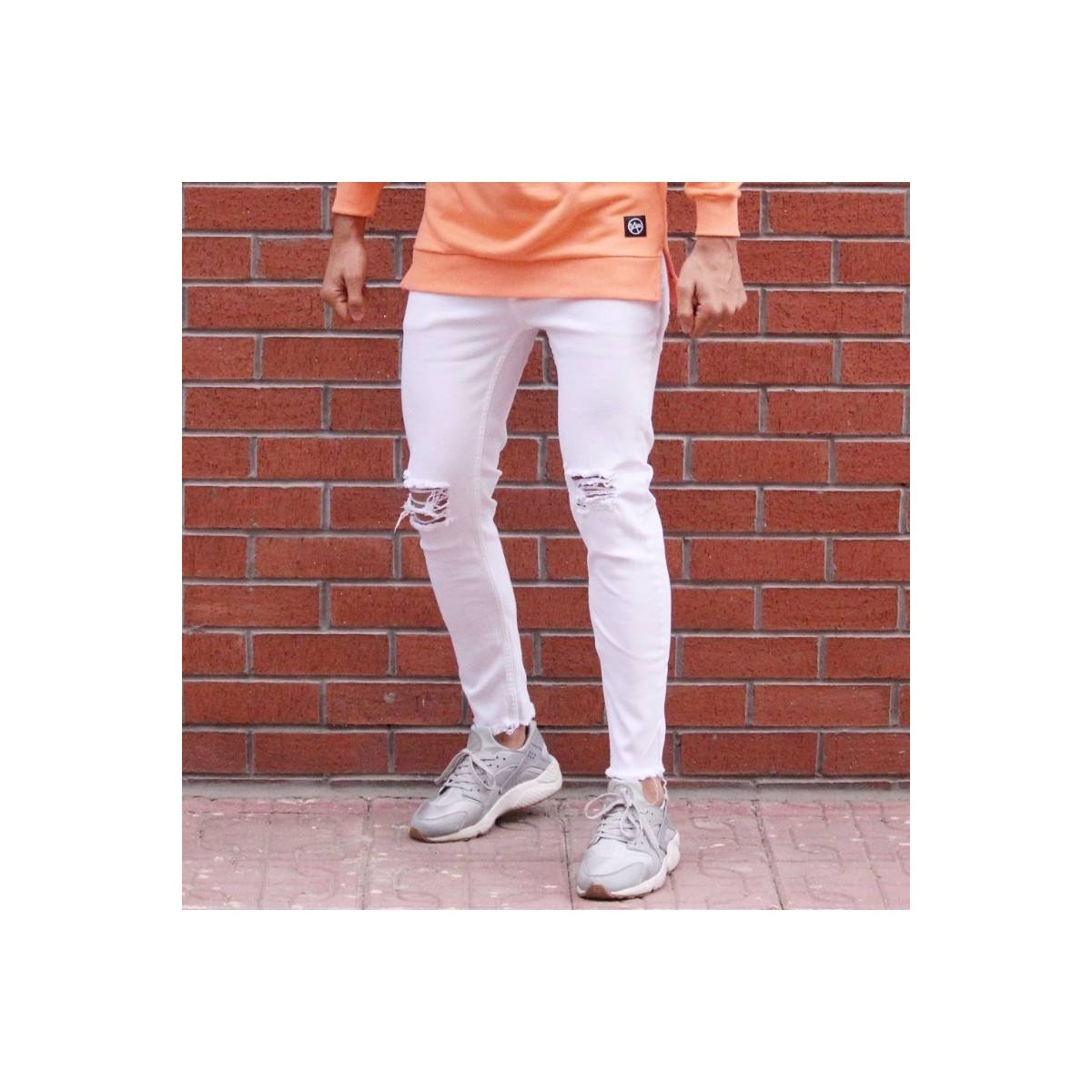 Men's Skinny Jeans With Knee Rips White