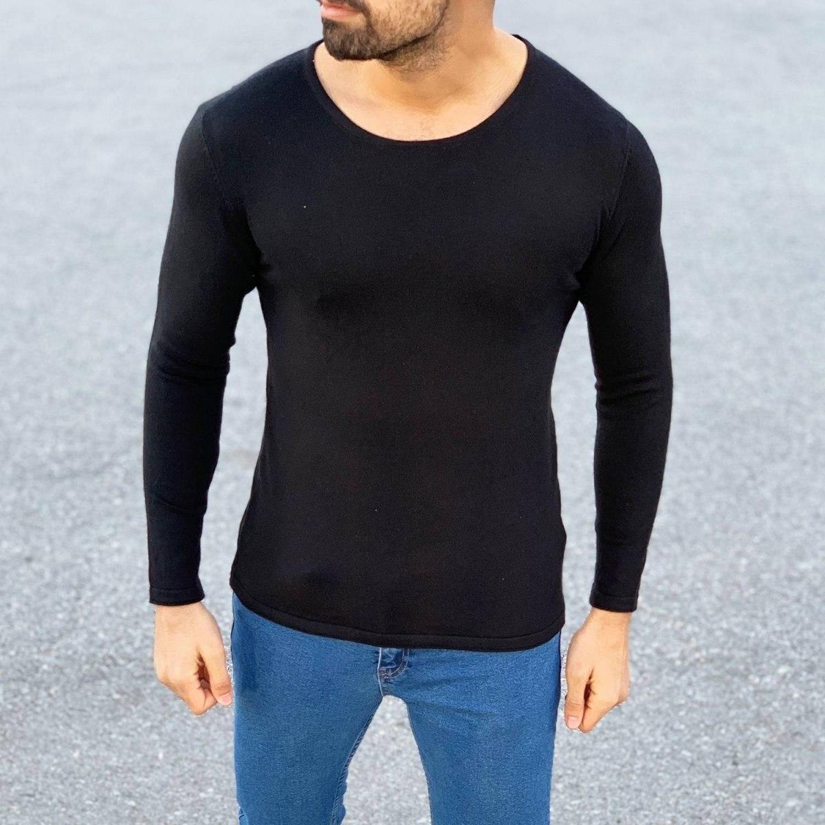 Round-Neck Slim-Fit Sweater in Black Mv Premium Brand - 2