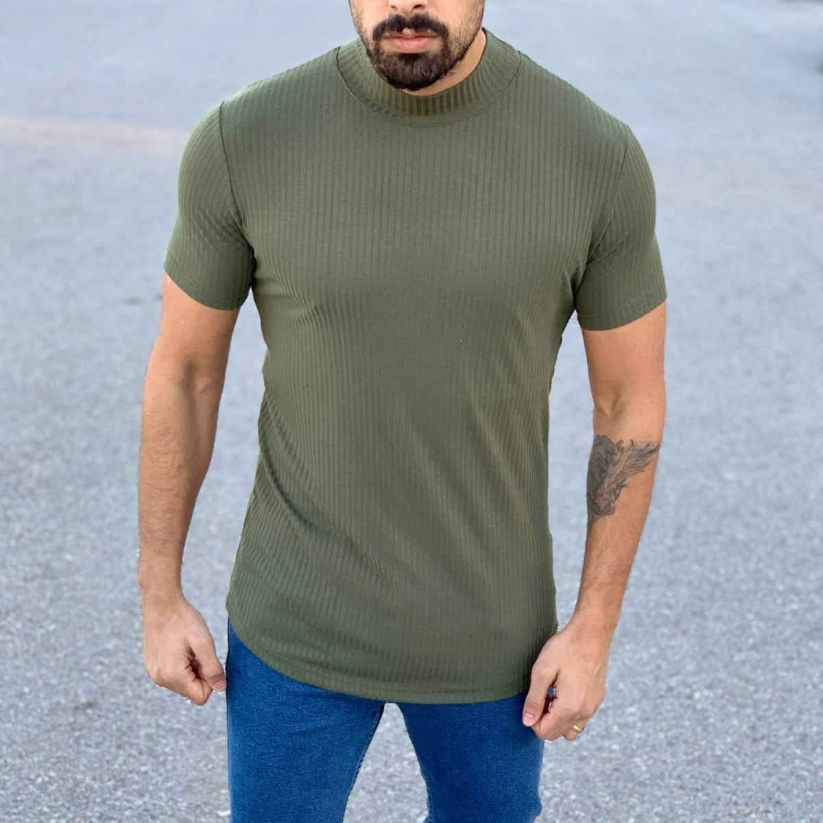 Slim-Fit Lined T-Shirt in Khaki Mv Premium Brand - 1