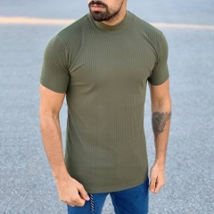 Slim-Fit Lined T-Shirt in Khaki Mv Premium Brand - 2