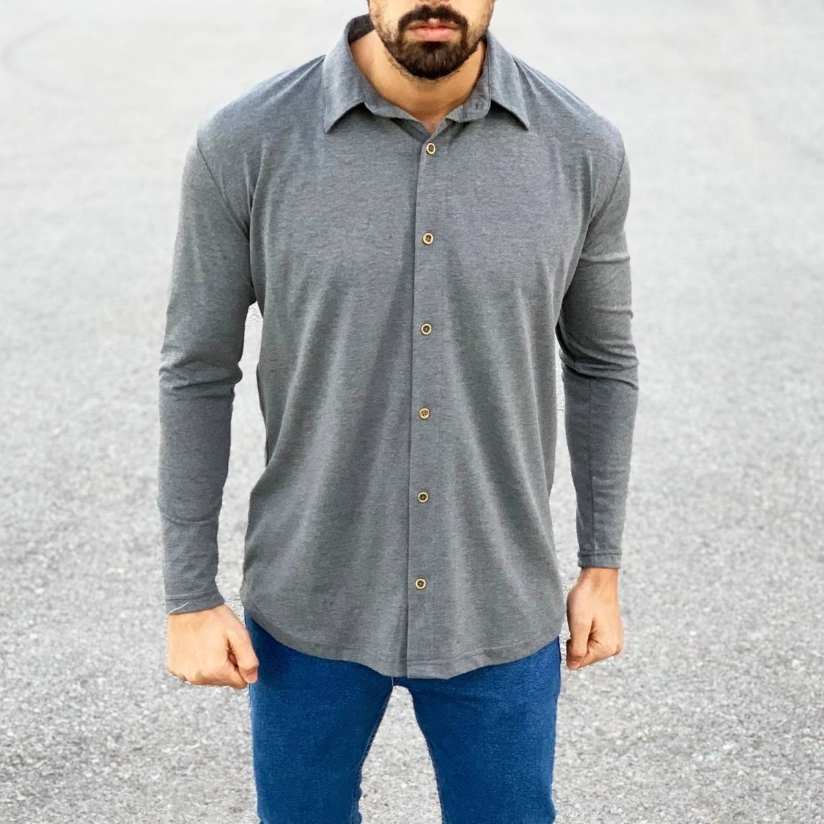 Slim-Fit Button-up Shirt in Grey Mv Premium Brand - 1