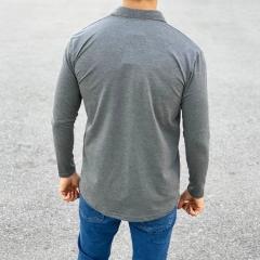 Slim-Fit Button-up Shirt in Grey Mv Premium Brand - 2
