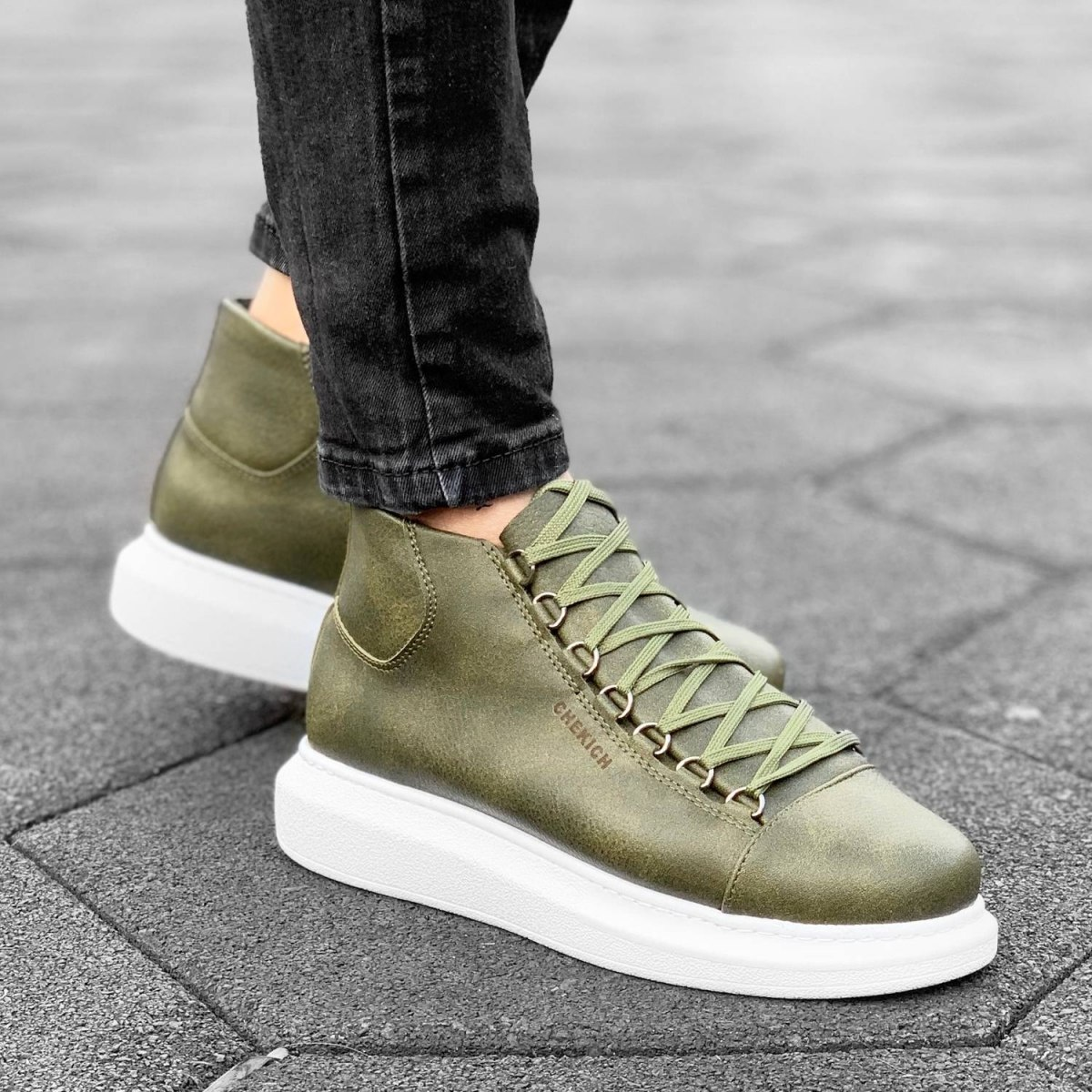Boosted-Sole High Top Sneakers in Khaki