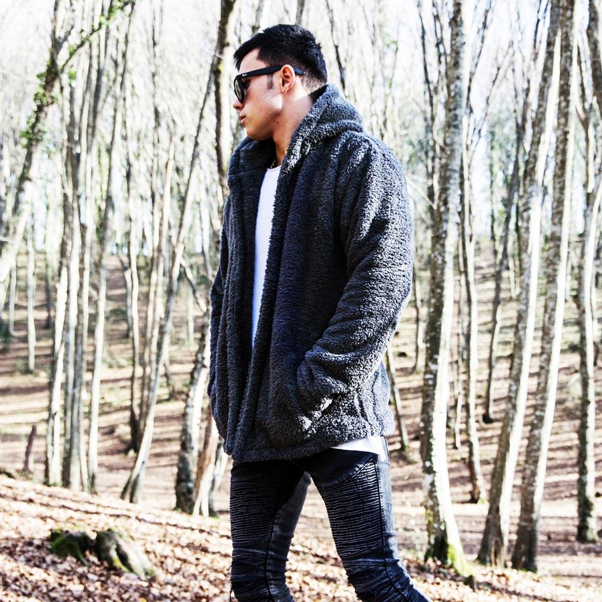 Men's Wellsoft Winter Furry Cardigan With Hood Black Mv Premium Brand - 2