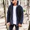 Men's Wellsoft Winter Furry Cardigan With Hood Black Mv Premium Brand - 1