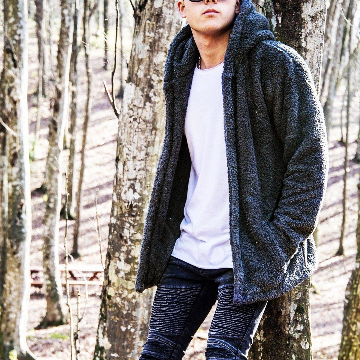 Men's Wellsoft Winter Furry Cardigan With Hood Black Mv Premium Brand - 3