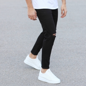 Black Loose-Fit Jeans With Knee-Holes Mv Premium Brand - 1