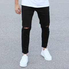 Black Loose-Fit Jeans With Knee-Holes Mv Premium Brand - 2